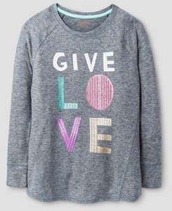 "Cat & Jack Girls' Cozy Sequin ""Give Love"" Pullover"