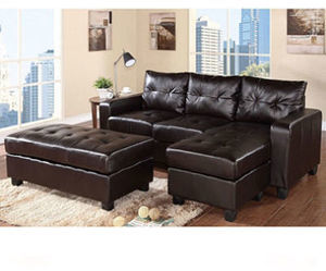 Claremont Leather Reversible Sectional & Ottoman