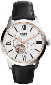 Fossil Men's Townsman Automatic White Dial Black Leather Watch