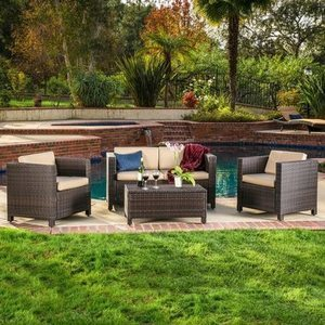 Christopher Knight Home Puerta 4-Pc. Brown Outdoor Wicker Sofa Set