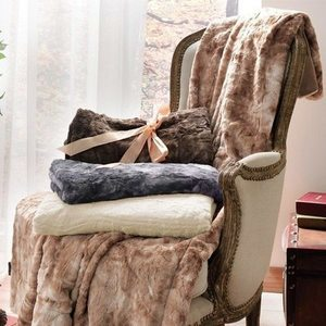 Brielle Faux Fur Reversible Throw Blanket