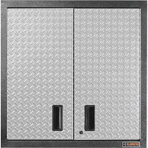 Gladiator Premier Series Pre-Assembled 30 in. H x 30 in. W x 12 in. D Steel 2-Door Garage Wall Cabinet in Silver Tread Gladiator 30-in pre-assembled wall gearbox with shelves