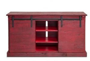 "Sunny Designs Red Barn Door Console for TVs Up to 68"" Red Barn Door Capsole"