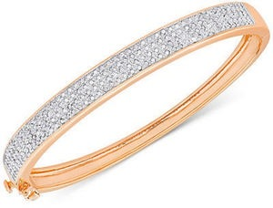 Diamond Pave Hinged Bangle Bracelet (1 ct. t.w.) in Sterling Silver
