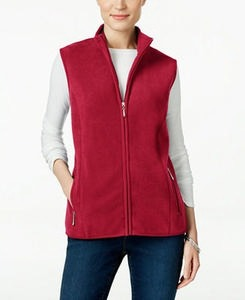 Karen Scott Fleece Zip-Front Vest