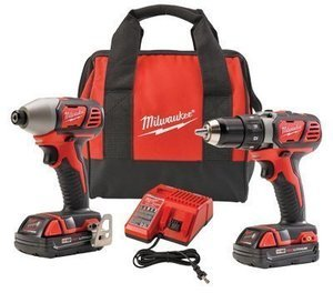 Milwaukee M18 Drill Kit, Compact + Hex Impact Driver, Two 18-Volt Lithium-Ion Batteries