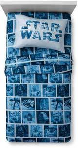 Disney Star Wars 3 Pc Classic Logo Blue Twin Sized Sheet Set