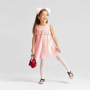 Toddler Girls' Pleated Velour Dress - Cat & Jack Restful Pink