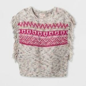 Cat & Jack Girls' Fringe Sleeveless Sweater