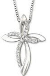 1/10 CT. T.W. Diamond Sterling Silver Cross Pendant Necklace