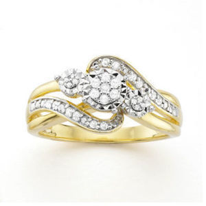 1/7 CT. T.W. Diamond Cluster 14K Yellow Gold Over Sterling Silver Ring