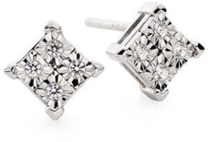 Diamond-Accent 10K White Gold Quad-Framed Stud Earrings