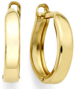 14K Yellow Gold 12.35mm Hinged Square-Edge Hoop Earrings