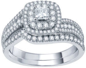 Modern Bride Signature 1 CT. T.W. Certified White & Color-Enhanced Blue Diamond Set