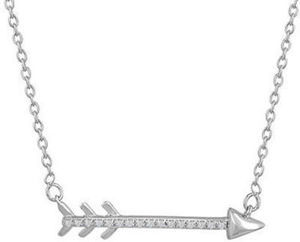 Diamond Accent Sterling Silver Arrow Pendant Necklace