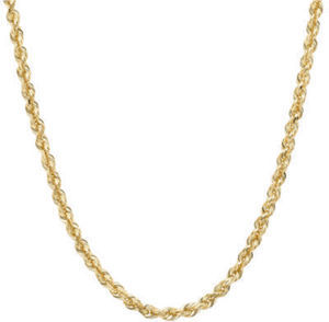 14K Yellow Gold Glitter Rope Chain