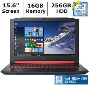 Acer Nitro 5 Laptop, Intel Core i5-7300HQ Processor, 16GB Memory, 256GB SSD, 4GB Graphics