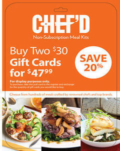 $30 Chef'd Gift Card, 2 pk.