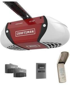 Craftsman 1/2 HP Chain Drive Garage Door Opener w/ 2 Multi-function Remotes and Keypad