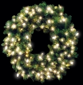 "Celebrations Prelit Green 36"" Wreath"