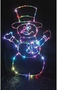 Celebrations LED Micro Dot Snowman Christmas Decoration Multicolored Iron 48 in.