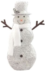 Celebrations Snowman LED Yard Art Cool White Wood/Fabric 48 in.