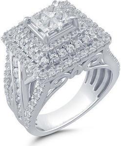 10K White Gold 2 ct. tw. Princess Halo Engagement Ring