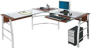 Realspace Mezza L-Shaped Glass Computer Desk
