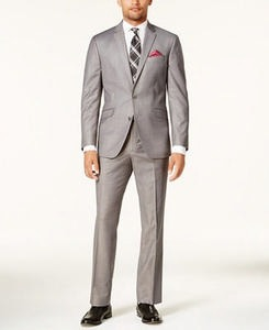 Men's Slim-Fit Light-Gray Basketweave Techni-Cole Suit