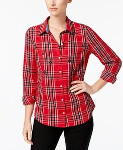 Cotton Beaded Plaid Shirt