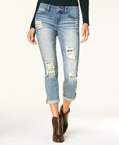 Juniors' Embellished Ripped Boyfriend Jeans