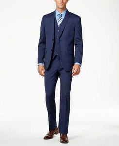 Alfani Men's Traveler Medium Blue Solid Slim-Fit Suit Separates