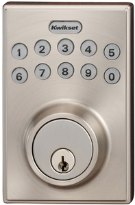 Kwikset 264 Contemporary Traditional Satin Nickel Single-Cylinder Motorized Electronic Entry Door Deadbolt with Keypad