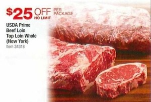 USDA Prime Beef Loin Top Loin Whole