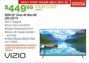 Vizio 55 Class 4 K Ultra HD Led LCD TV