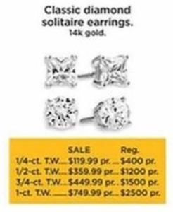 1/2-ct T.W. Classic Diamond Solitaire Earrings 14K Gold