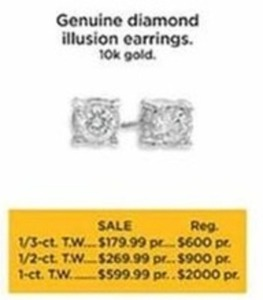 1/3-ct Genuine Diamond Illusion Earrings 10K Gold