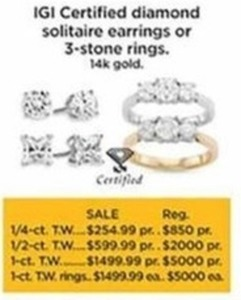 1-ct T.W. IGI Certified Diamond Solitaire Ring 14K Gold