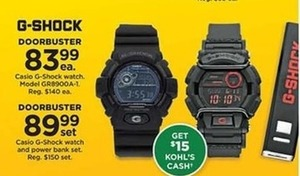 Casio G Shock Watch + $15 Kohl's Cash