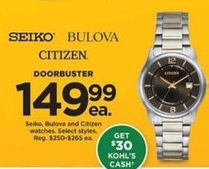 Selko Bulova And Citizen Watches + $30 Kohl's Cash