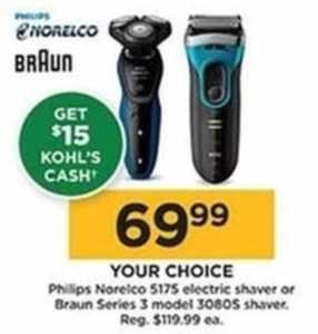 Phillips Norelco 5175 Electric Shaver with $15 Kohl's Cash