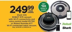 Shark Ion Robot R75 Vacuum With Wi Fi Connectivity And Voice Control + $60 Kohl's Cash