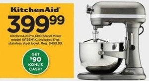 KitchenAid Pro 600 Stand Mixer +$90 Kohl's Cash