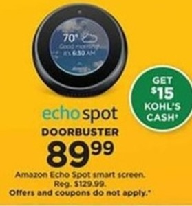 Amazon Echo Spot Smart Screen (Get $15 Kohl's Cash)