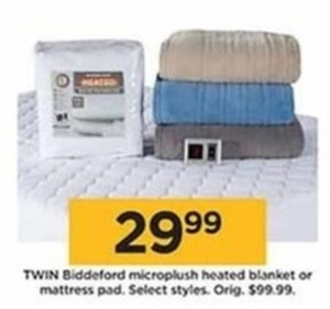 Twin Biddeford Microplush Heated Blanket or Mattress Pad