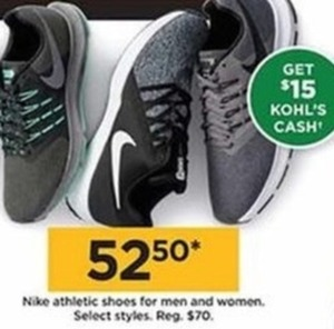 Nike Athletic Shoes (Get $15 Kohl's Cash)