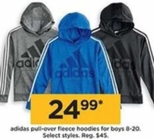 Adidas Pull-Over Fleece Hoodies For Boys
