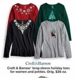 Croft and Barrow Long-Sleeve Holiday Tees for Women and Petities