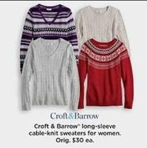 Women Croft & Barrow Long Sleeve Cable Knit Sweaters