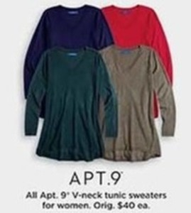 Apt. 9 V Neck Tunic Sweaters For Women